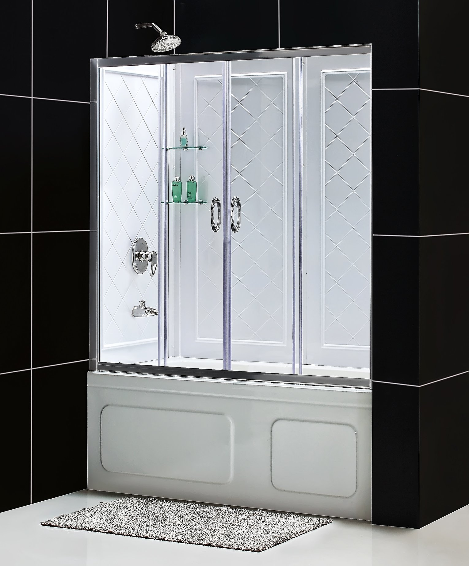 DreamLine Visions 28-32 in. D x 56-60 in. W Kit, with Sliding Tub Door in Brushed Nickel and White Acrylic Backwalls