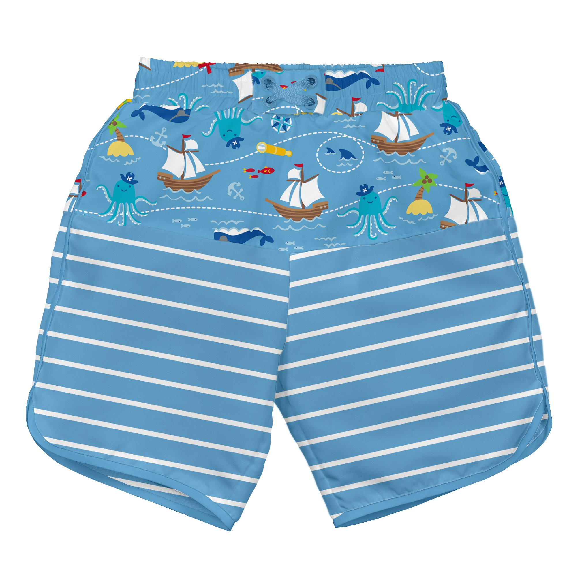 3T Navy Pirate Ship i play Toddler Boys Pocket Trunks with Built-in Reusable Absorbent Swim Diaper