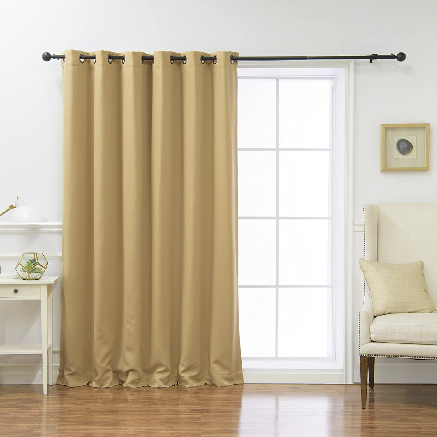 "Best Home Fashion Wide Width Thermal Insulated Blackout Curtain - Antique Bronze Grommet Top - Wheat - 80"" W x 84"" L - (1 Panel)"