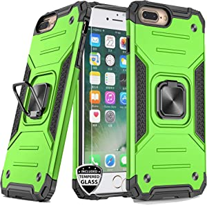 REEJAX iPhone 8 Plus Case,iPhone 7 Plus Case with Screen Protector,Heavy Duty Rugged Cover with Magnetic Ring Kickstand for Car Mount Holder,Protective Phone Case for iPhone 7 Plus/8 Plus Green