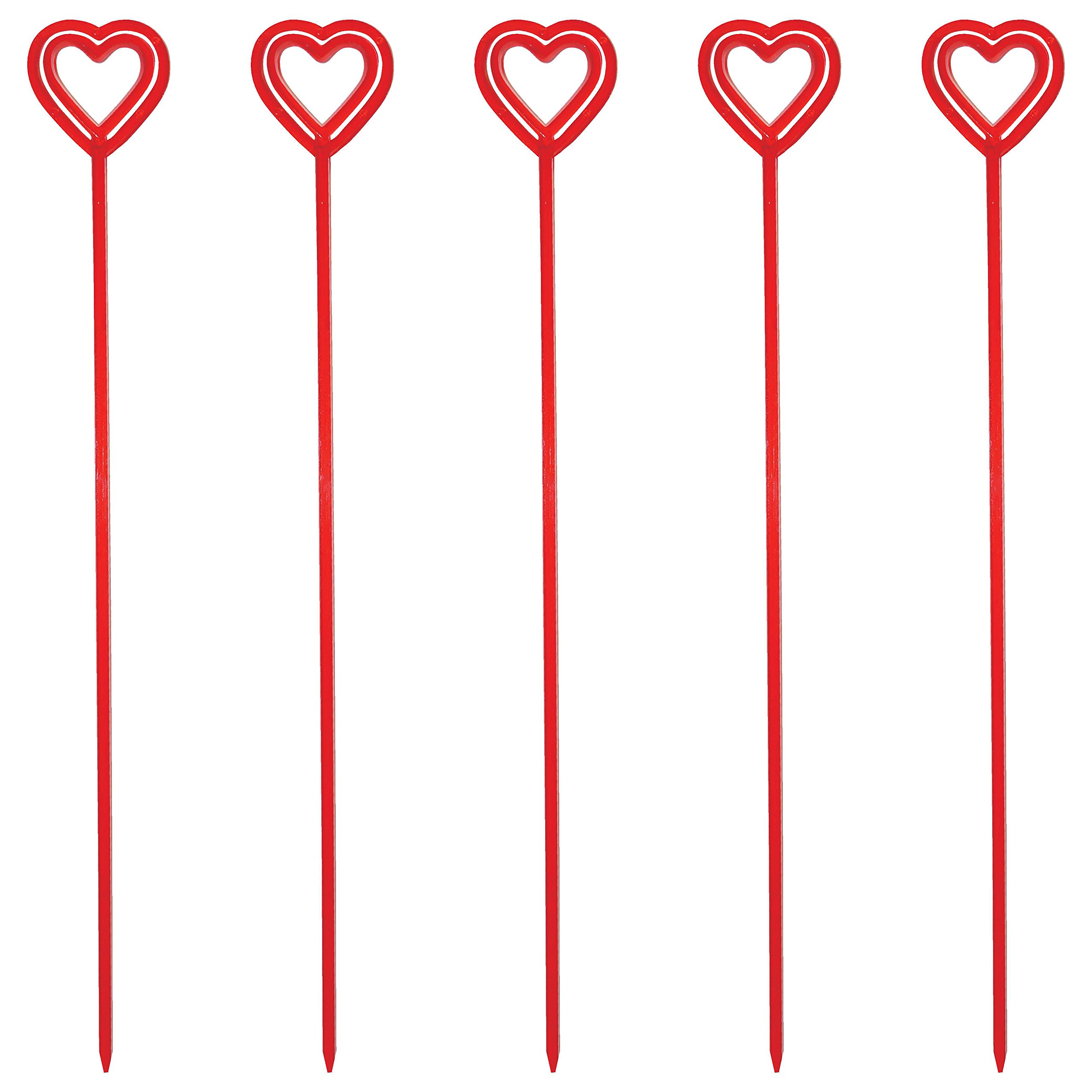 Royer 12 Inch Plastic Heart Valentine's Day Floral Picks, Card Holders, Set of 100 (Transparent Red) - Made In USA