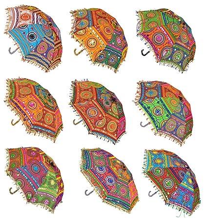 b2d0c272a5c95 Lal Haveli Embroidered Work Designer Cotton Mini Umbrella for Kids Sun  Parasol 21 X 26 Inches Set of 5 Pcs: Amazon.in: Home & Kitchen