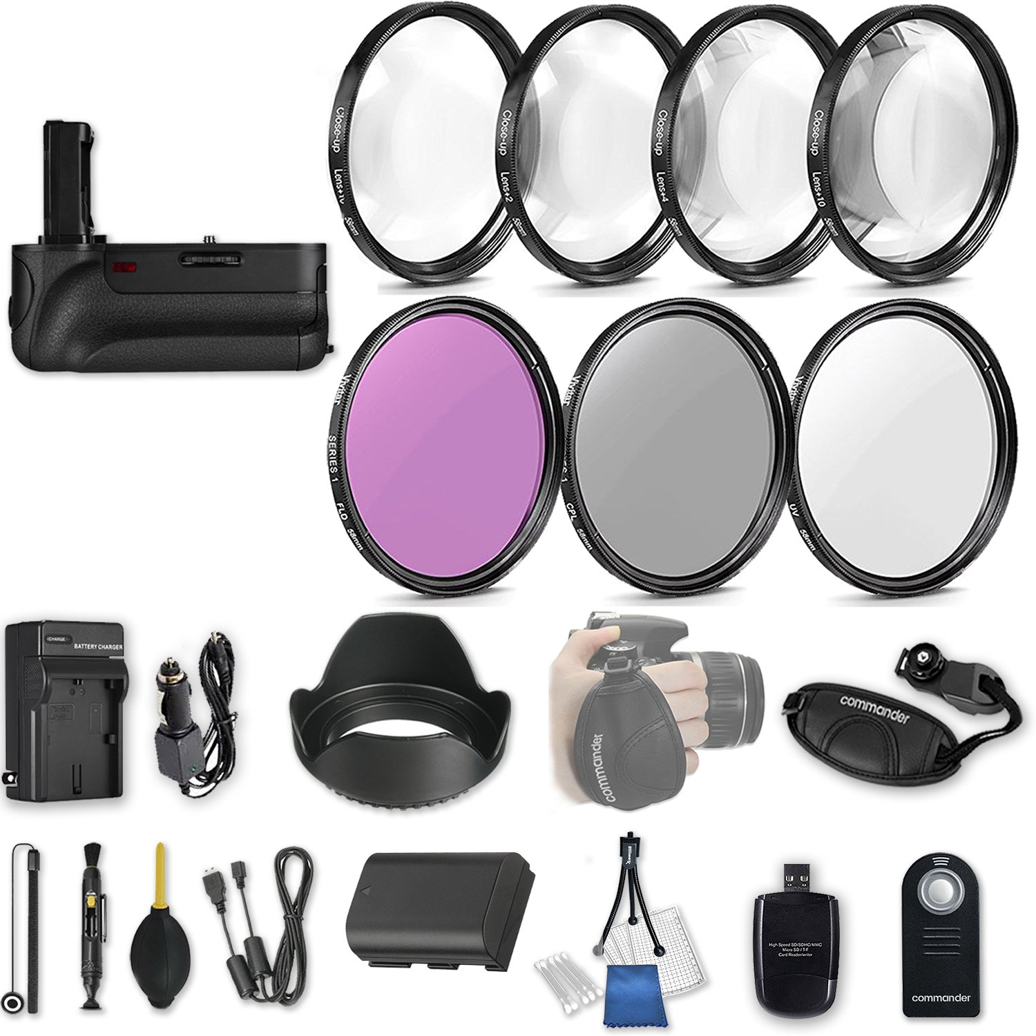 58mm 21 Pc Accessory Kit for Canon EOS Rebel 70D, 80D DSLRs with Battery Grip, UV CPL FLD Filters, & 4 Piece Macro Close-Up Set, Battery, and More by 33rd Street