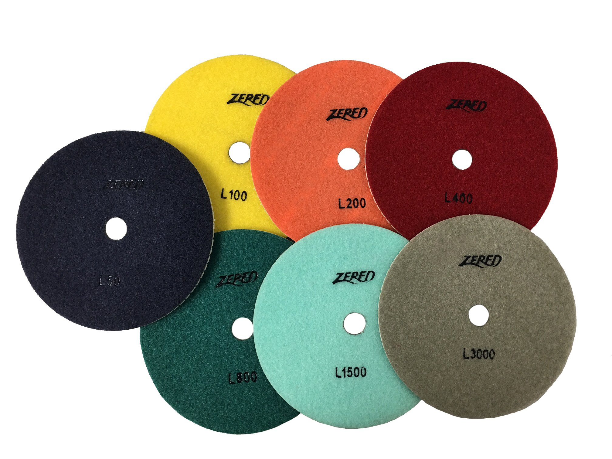 Zered PP7-L 4 in.Diamond Polishing Pads-Series L (Full Set (7 Pcs)) by Zered
