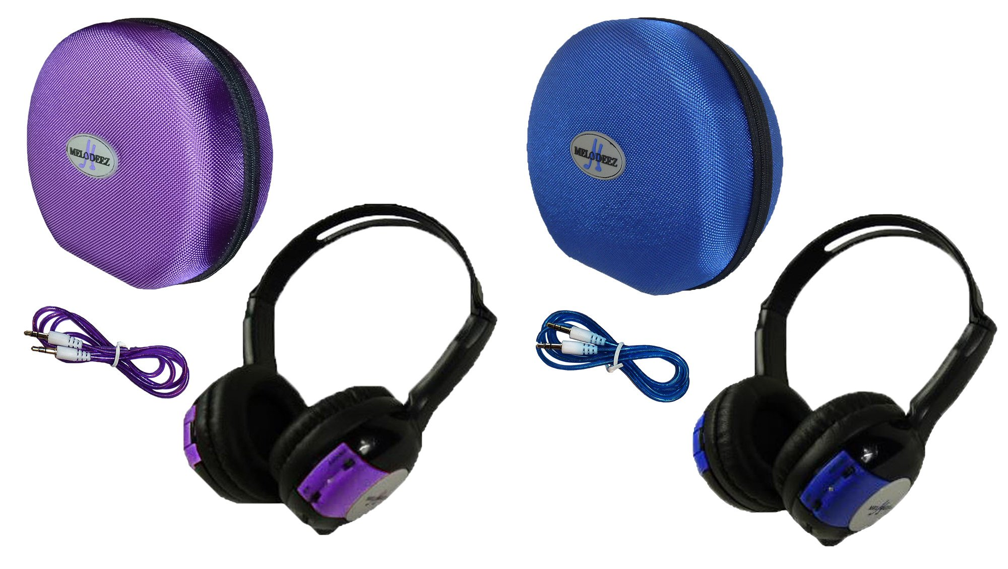 2 Pack Kid Sized Wireless Infrared Car DVD IR Automotive Colored Adjustable 2 Channel Headphones With Case and 3.5mm Auxiliary Cord. Note: Will Not Work on 2017+ GM's or Pacifica by Wisconsin Auto Supply