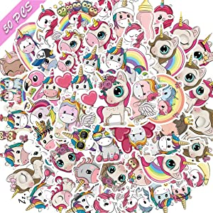 Unicorn Stickers, 50 Pcs Pack, Laptop Stickers, Cute Vinyl Stickers for Water Bottles, Hydro Flask, Car, Skateboard, Bike, Luggage Waterproof Decals Graffiti Stickers Pack for Teens, Women(Unicorn)