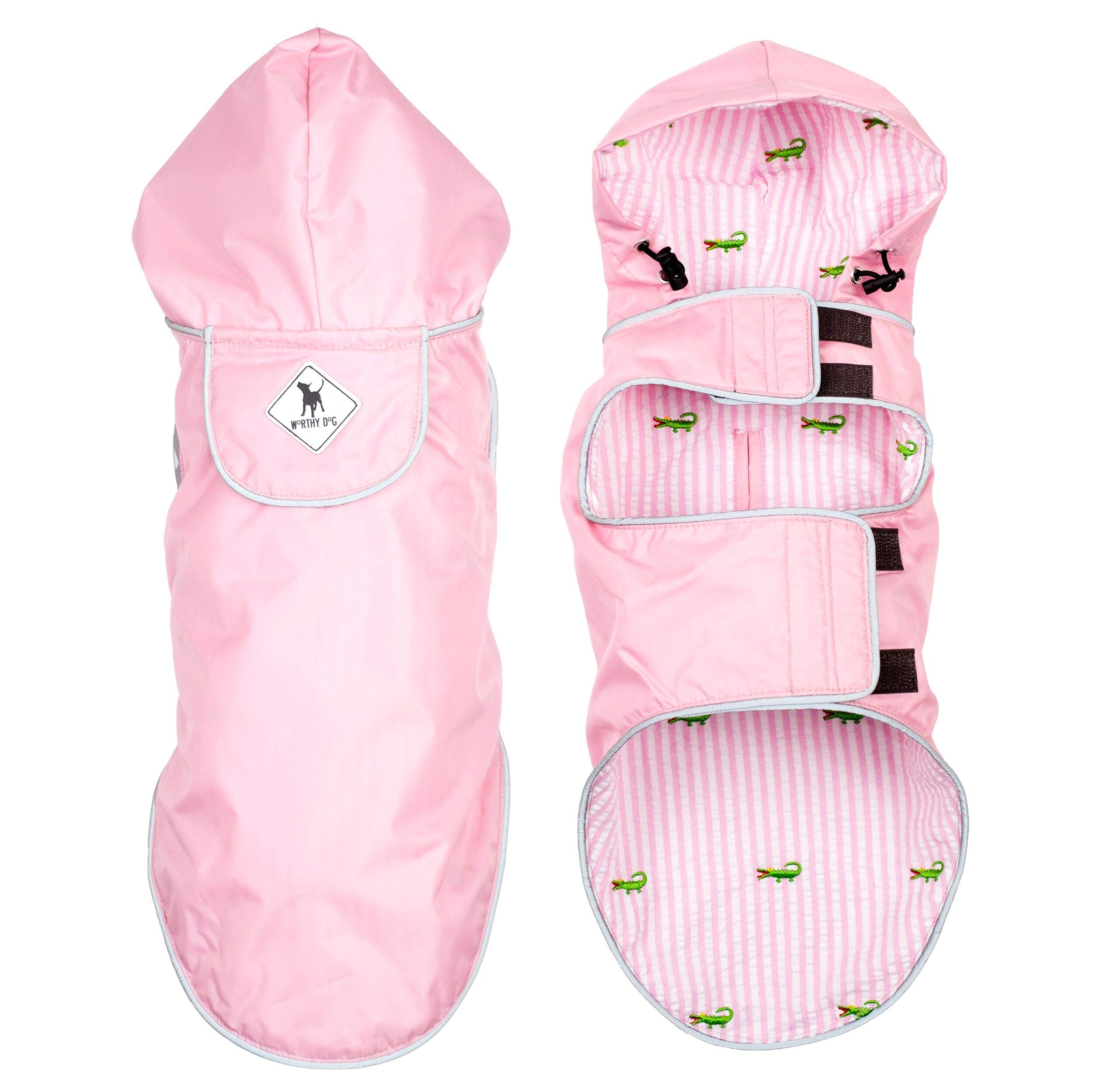 The Worthy Dog Seattle Slicker Wind and Water Resistant Hooded Rain Jacket with Reflective Trim for Small Medium Large Dogs, Pink, XS