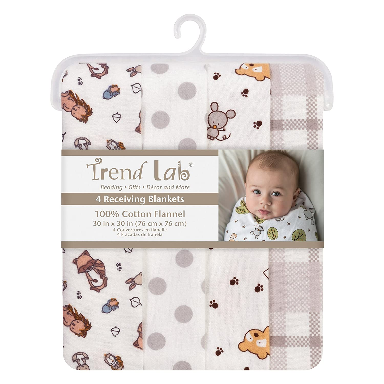 Trend Lab Wild Bunch Flannel Blankets, 4 Piece 103211
