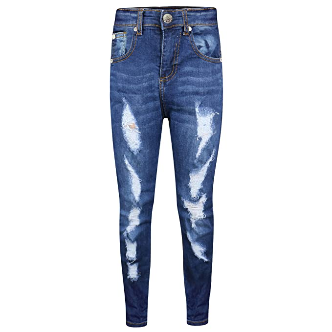721c98362a95 Amazon.com: Kids Stretchy Jeans Boys Jeggings Ripped Skinny Pants Trousers  Age 5-13 Years: Clothing