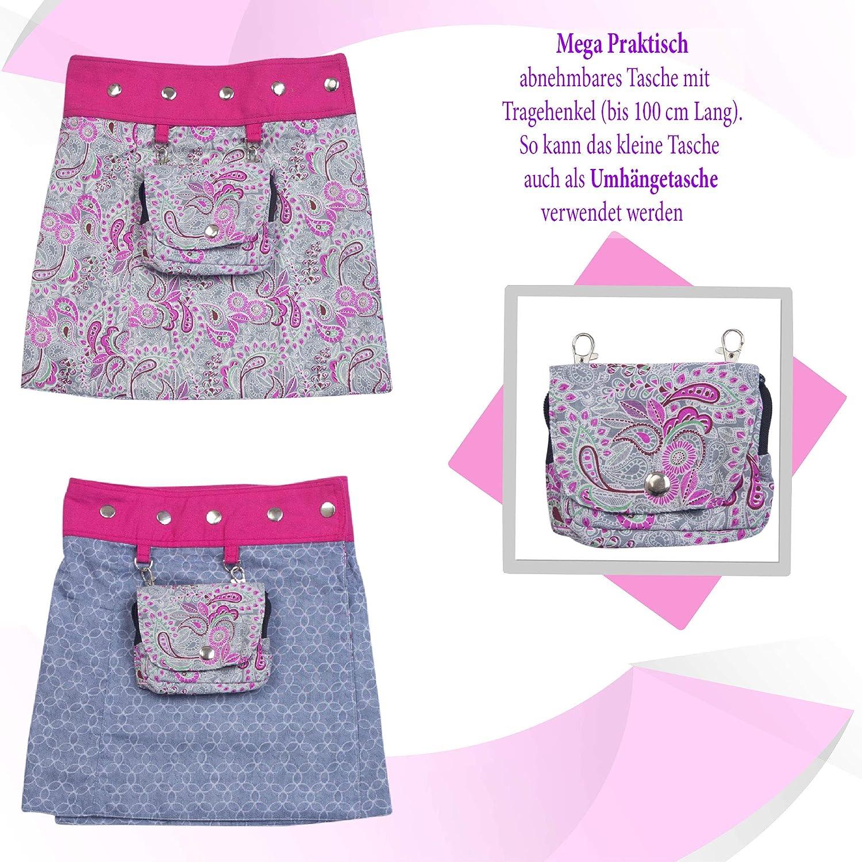 Baumwolle M/ädchenrock Skirt mit Abnehmbarer Tasche 2 Kinder R/öcke in einem Sunsa M/ädchen Rock Minirock Wende Wickelrock Sommerrock kurz Gr/ö/ße verstellbar Coole Sachen//Geschenke 15716