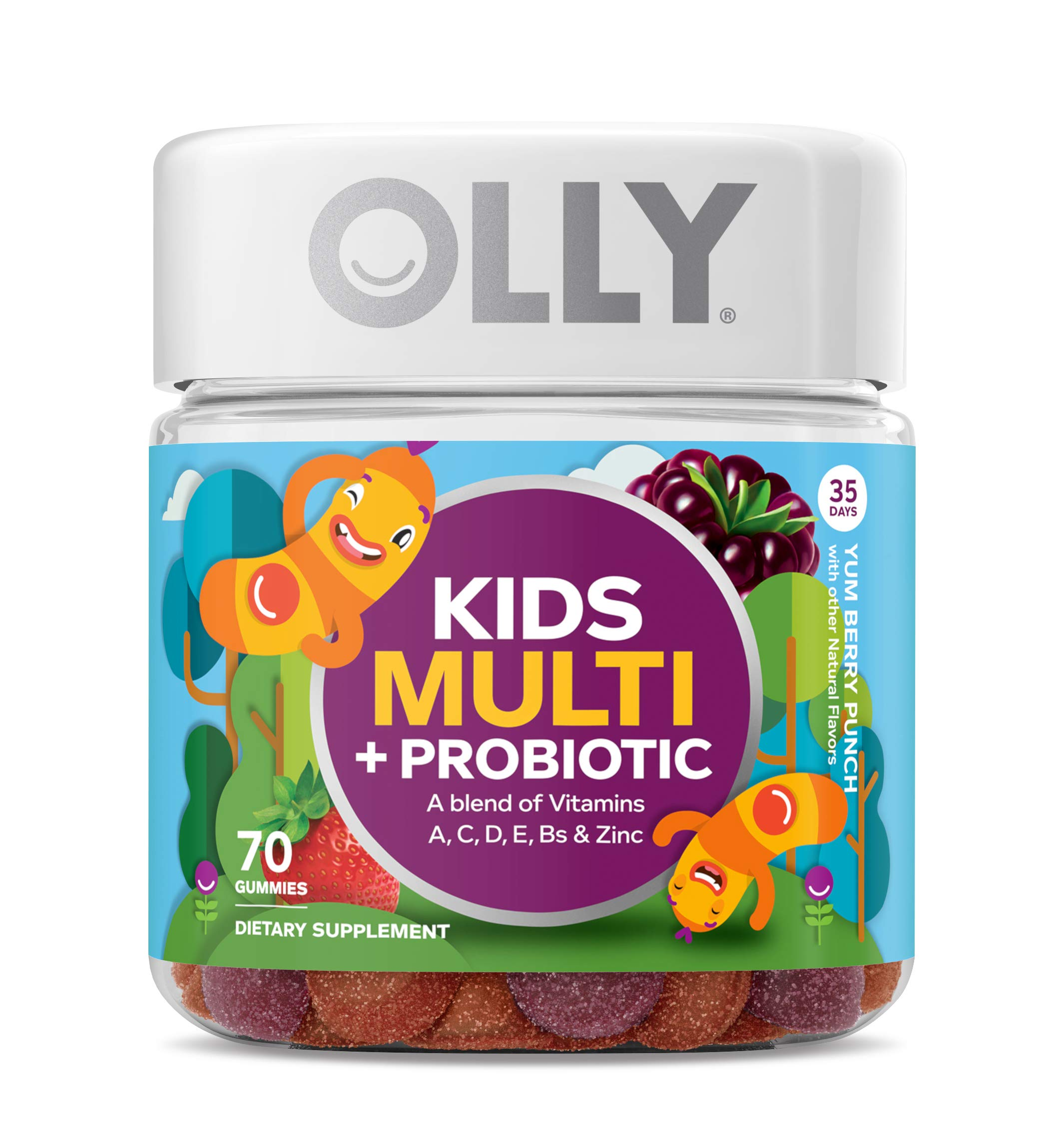 OLLY Kids Multi + Probiotic Gummy Multivitamin, 35 Day Supply (70 Count), Yum Berry Punch, Vitamins A, C, D, E, B, Zinc, Probiotics, Chewable Supplement by Olly