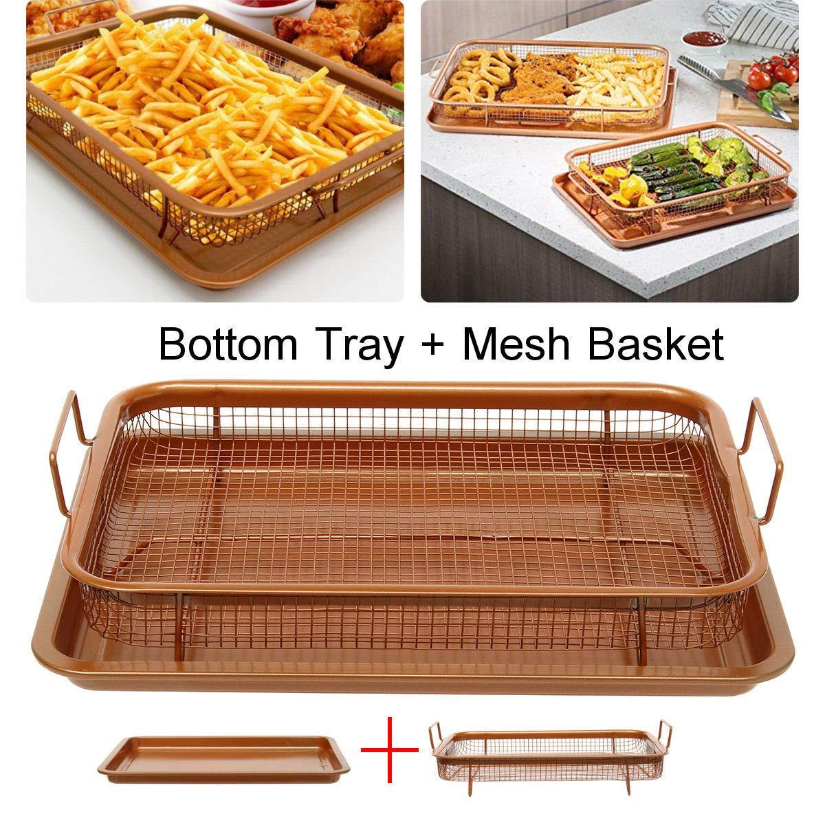 Bazzano Copper Crisper Non-Stick Oven Mesh Chips Baking Mesh Basket Bottom Unique Tray Rack