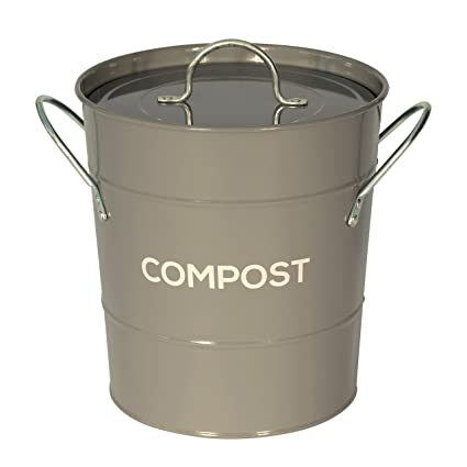 dark grey metal kitchen compost caddy composting bin for food rh amazon co uk