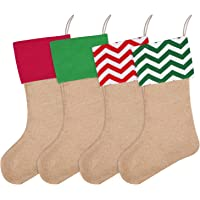 Livder 4 Pieces Burlap Christmas Stockings Fireplace Hanging Stockings for Christmas Decoration DIY Craft (Multicolor)