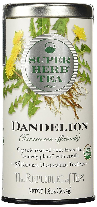 The Republic Of Tea Organic Dandelion Superherb Herbal Tea, 36 Tea Bags, Non-Caffeinated, Non-GMO Verified