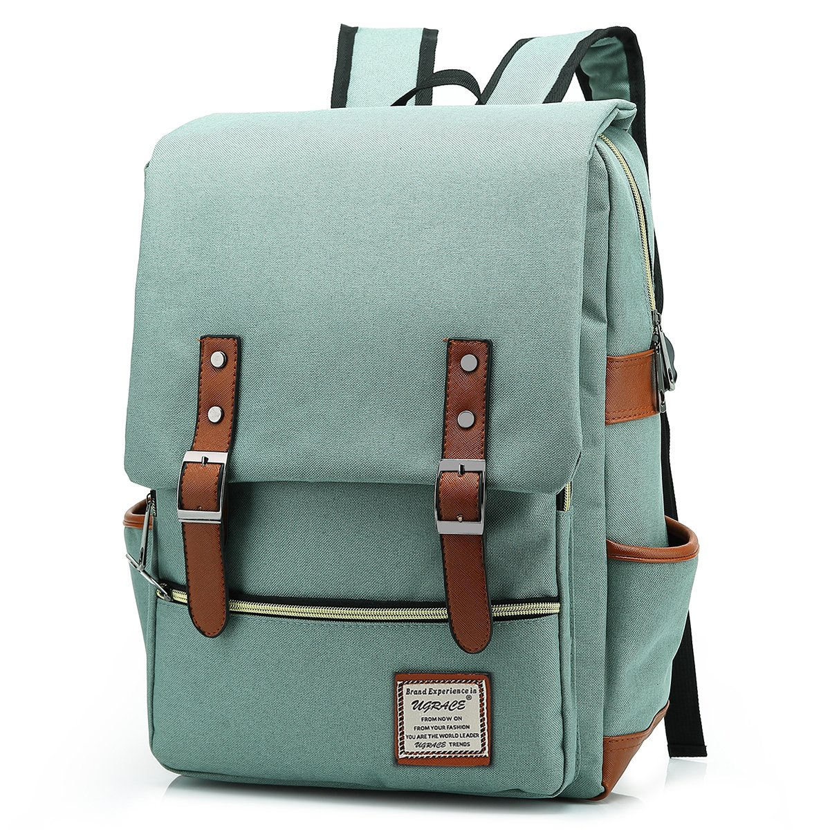 UGRACE Slim Business Laptop Backpack Elegant Casual Daypacks Outdoor Sports Rucksack School Shoulder Bag for Men Women, Tear Resistant Unique Travelling Backpack Fits up to 15.6Inch MacBook in Green by UGRACE