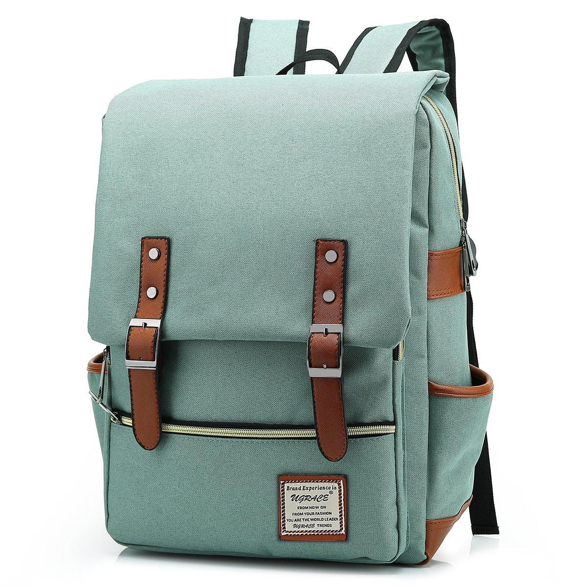 UGRACE Slim Business Laptop Backpack Elegant Casual Daypacks Outdoor Sports Rucksack School Shoulder Bag for Men Women, Tear Resistant Unique Travelling Backpack Fits up to 15.6Inch Macbook in Green by UGRACE (Image #1)