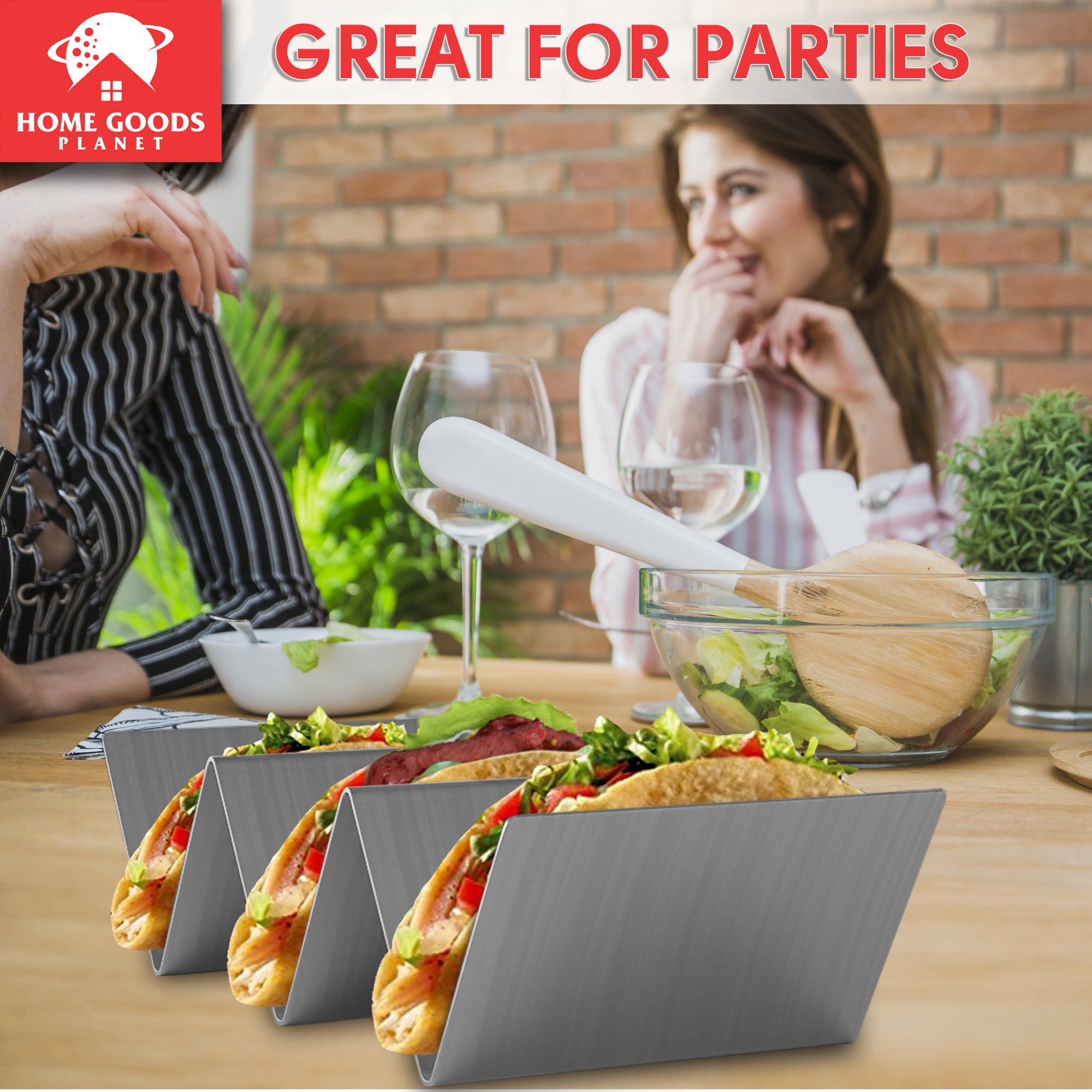 Taco Holder - Set of 2 Shell Racks - Stainless Steel Durable Taco Stand Tray - Ideal for Hard or Soft Shell Tacos - Oven & Dishwasher Safe Tacos Serving Tray or Taco Platter - Includes Recipe e-book by Home Goods Planet (Image #6)