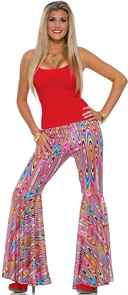 Women/'s 70s Swirl Bell Bottom Costume Pants Small-Medium 4-10