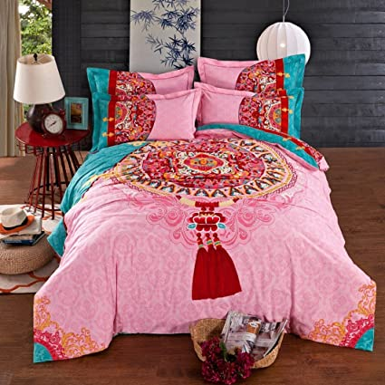 3ad227842d4 Image Unavailable. Image not available for. Color  4-Piece Bedding Set 100%  Cotton Printed Pastoral Chinese ...
