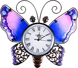 Colorful Wall Clock Colorful Decorative Clock Easy to Read for Bedroom Home Decoration Purple Butterfly Wall Clocks Battery Operated