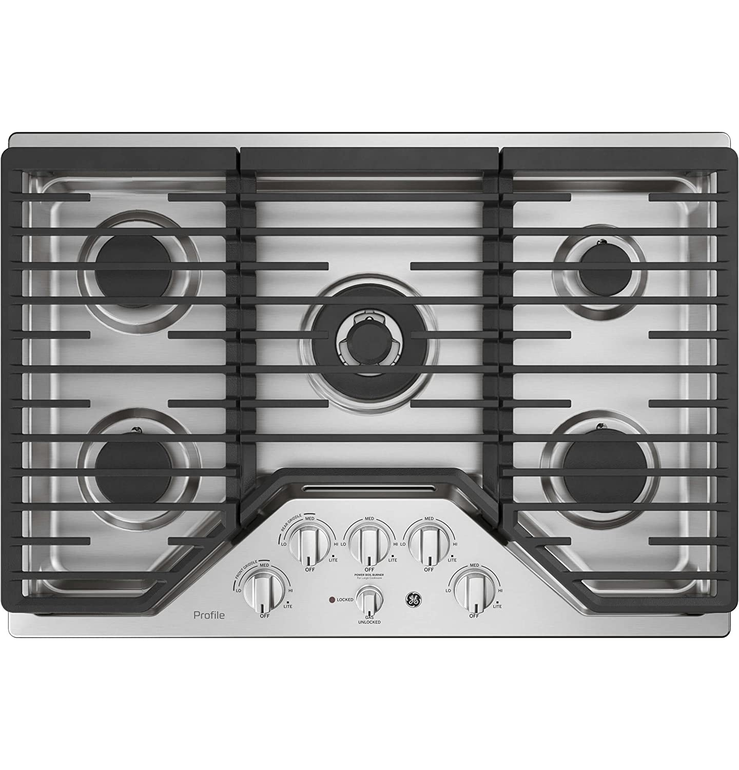 GE Profile PGP9030SLSS 30 Inch Natural Gas Sealed Burner Style Cooktop with 5 Burners in Stainless Steel G.E. Profile
