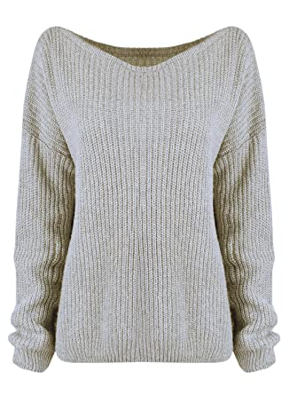 841f1f1417 Azbro Women s Fashion Off Shoulder Ribbed Knit Pullover Sweater ...