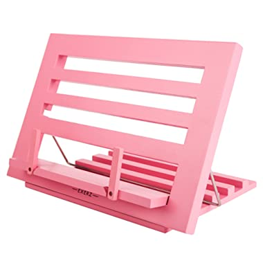 Exerz Wooden Reading Rest Cookbook Stand Cook Recipe Holder Bookrest – Premium Quality/Adjustable/Ideal for Book Ipad Tablet Dictionary – 14  x 10  x 1  / 34 x 24 x 2 cm (Pink)