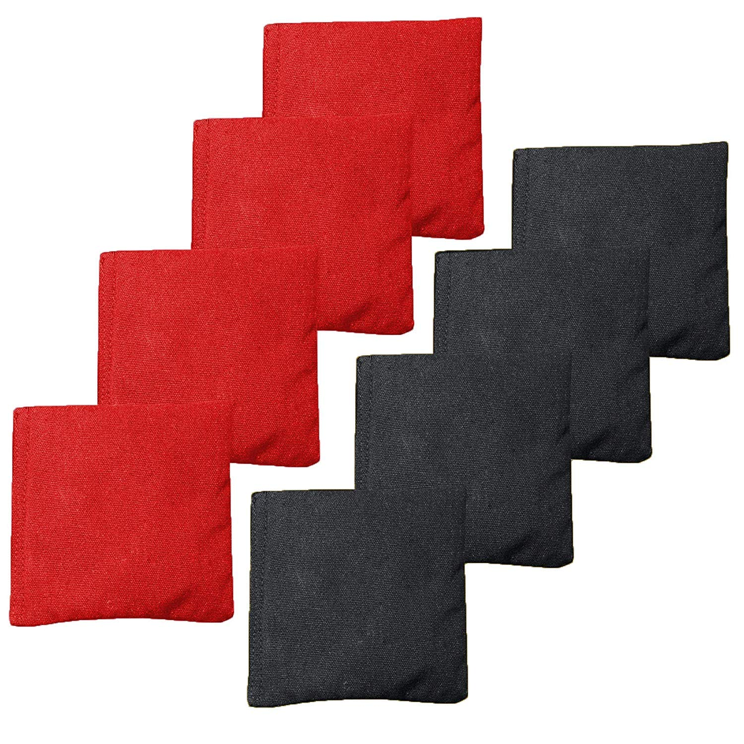 Weather Resistant Cornhole Bean Bags Set of 8 - Duck Cloth - Regulation Size & Weight - Red and Black