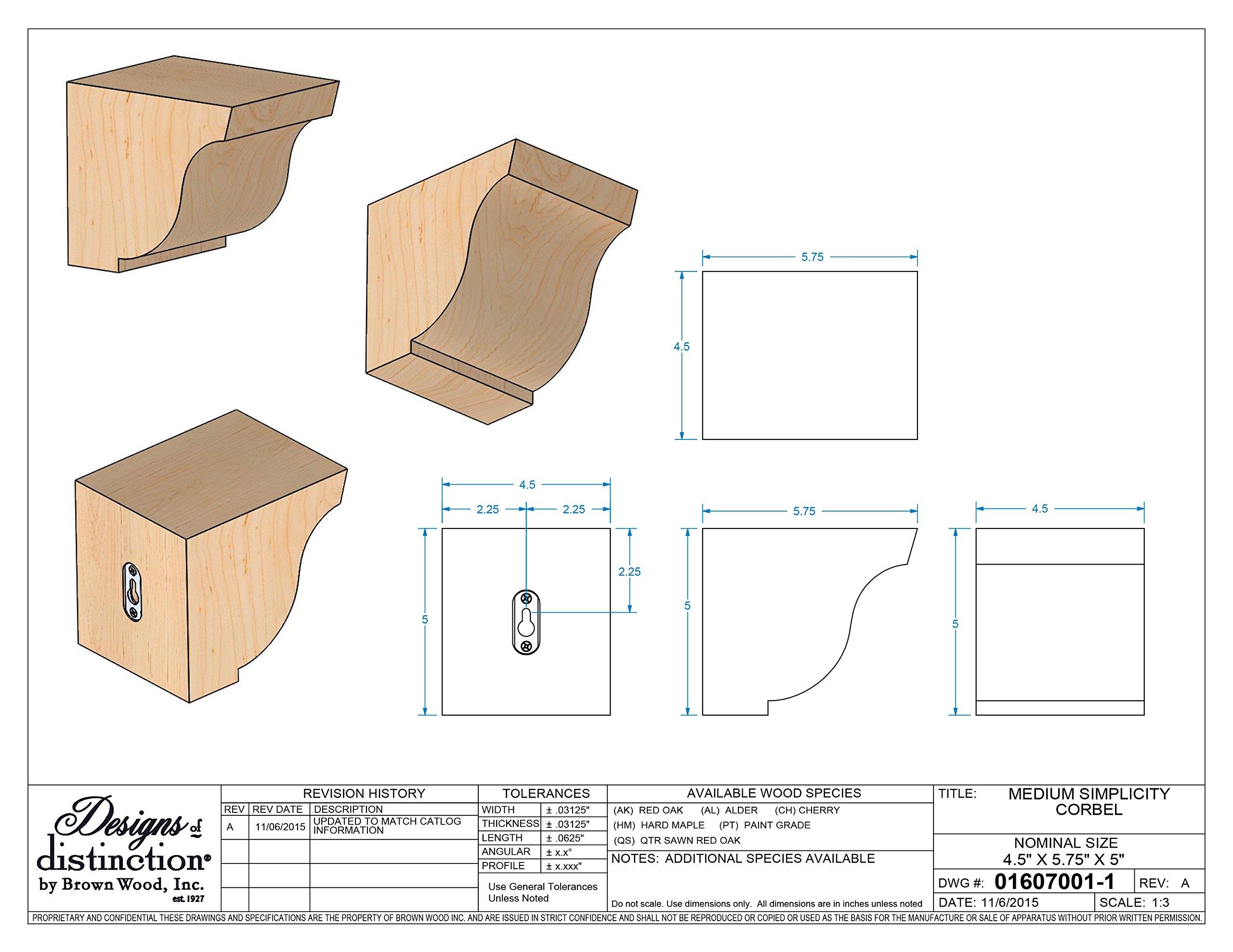 Brown Wood Inc. 01607001AK1 Simplicity Wood Corbel, Red Oak