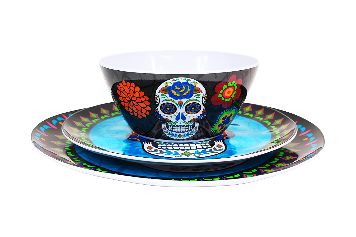 Plastic Sugar Skull Day of the Dead Blue Plate Set  sc 1 st  My Sugar Skulls : green plate set - pezcame.com