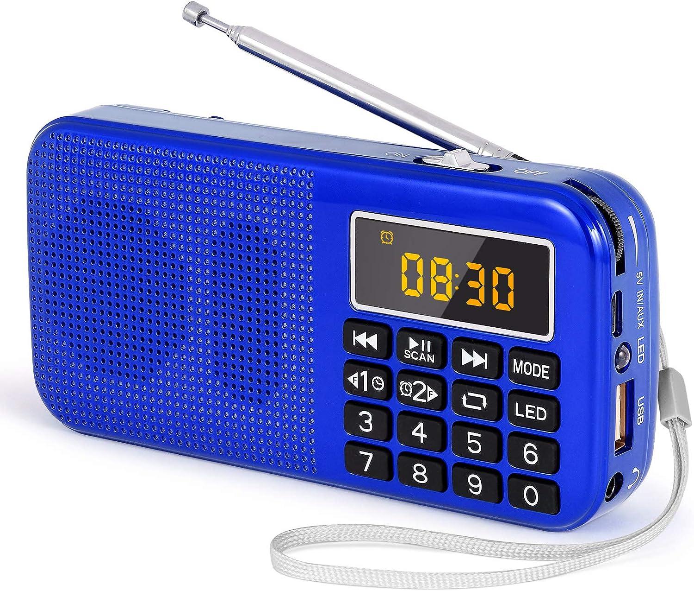J-725C Radio FM portátil pequeña, Radio de batería Recargable Digital con Reloj Despertador, Linterna LED, Tiempo de reproducción ultralargo, Reproductor de MP3 AUX Micro-SD Pendrive, de PRUNUS(Azul): Amazon.es: Electrónica
