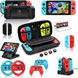 Switch Accessories Bundle for Nintendo Switch, Kit with Carrying Case, Screen Protector,Charging Dock,Compact Playstand…