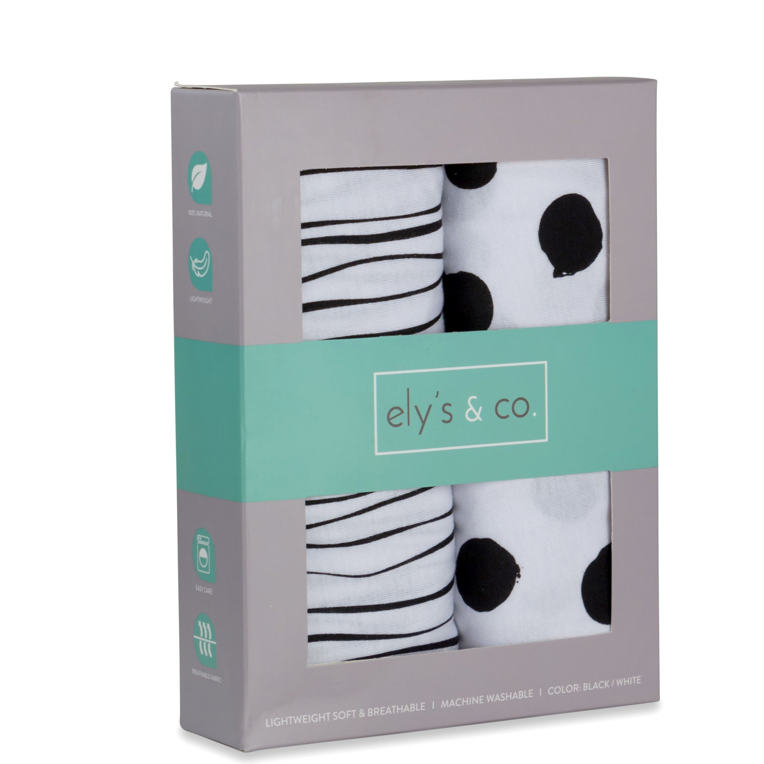 Pack n Play Playard Sheet | Portable Crib Sheet Set 2 Pack Black and White Abstract Stripes and Dots by Ely's & Co