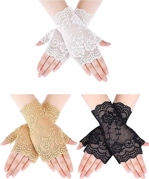 Short Lace Gloves Lady Opera Prom Party Full Finger Gloves Bridal Wedding Gloves