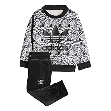 fe3b94f3cd2 Adidas Kids(Infant) Originals Zebra Crew Set (6M, Clear Brown/Black