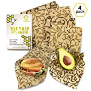 Bee Wrap 4 Pack from Europe - Wax Wrap 2 Large 2 Medium - Wax Sandwich Wrap- Beeswax Wrap - Beeswrap Large - Reusable Food Wrap - Organic Beeswax Wrap - Reuseable Beeswax Wrap - Wax Wrap YKing