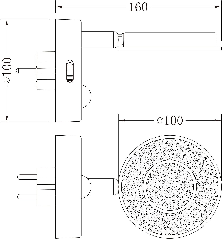 cromo//titanio o blanco, con funci/ón autom/ática, 230 V, con sensor de movimiento Luz nocturna LED con sensor de movimiento Trango
