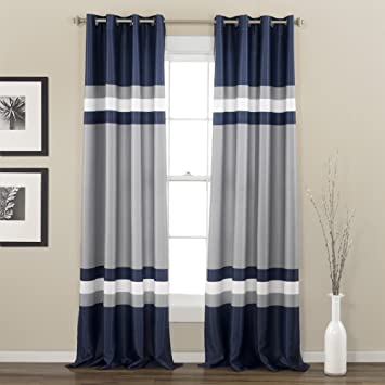 blue and grey curtains Amazon.com: 2 Piece 84 Inch Navy Silver Grey Rugby Stripes  blue and grey curtains