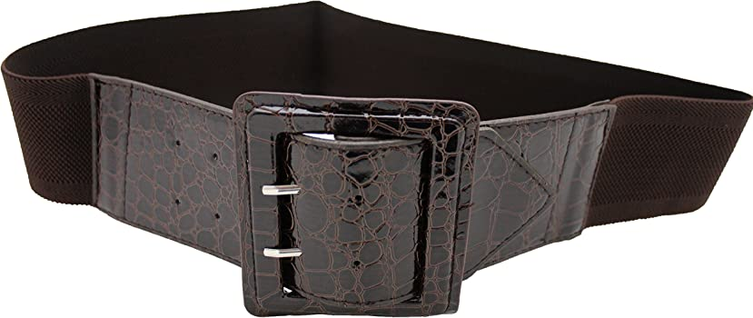 Women Fashion Black Belt Faux Leather Fabric Elastic Band Hip Waist Plus M L XL