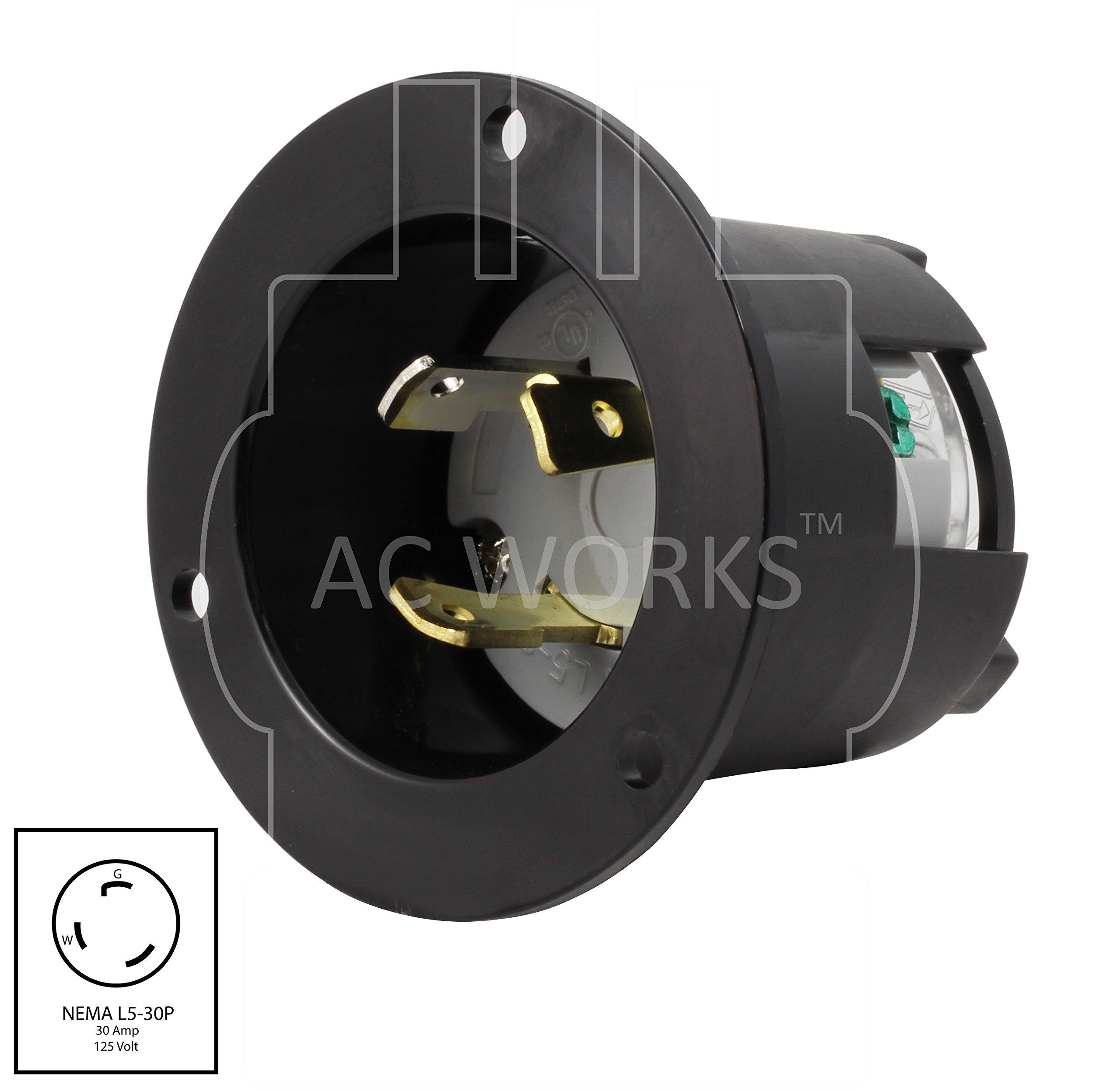 AC WORKS ASINL530P 30-Amp 125-Volt NEMA L5-30P Flanged Power Input Inlet by AC WORKS (Image #1)