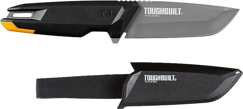 "Toughbuilt Tradesman Knife – Heavy-duty Sheath with Belt Clip – 4"" Titanium Drop Point Blade – TB-H4S-40-TMK-2"