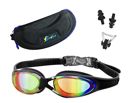 074bfbd9be1b Anti Reflection Swimming Goggles (Black) with a Bonus Gift Set of Matching  Nose Clip