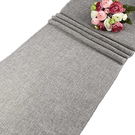 AerWo Gray Natural Imitated Linen Table Runner For Wedding Party Decoration    13.5 Inches X 108