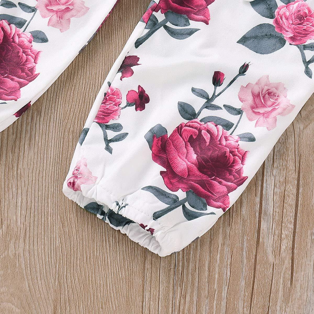 Floral Pants Bow-Knot Headband Yaffi 3 Pieces Toddler Baby Girls Bodysuit Set Ruffle Crimson Romper