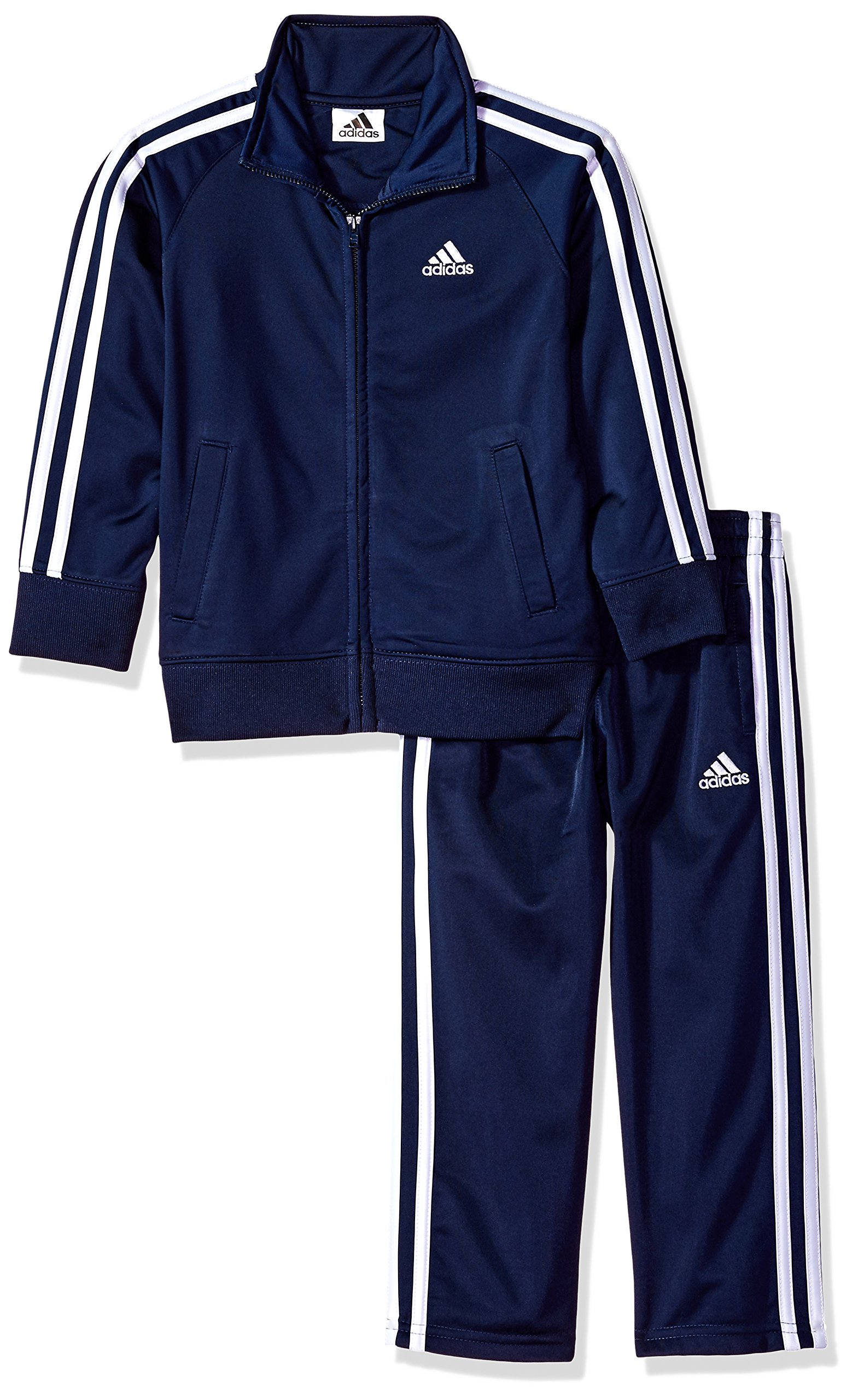 adidas Little Boys' Iconic Tricot Jacket and Pant Set, Navy/White, 6 by adidas