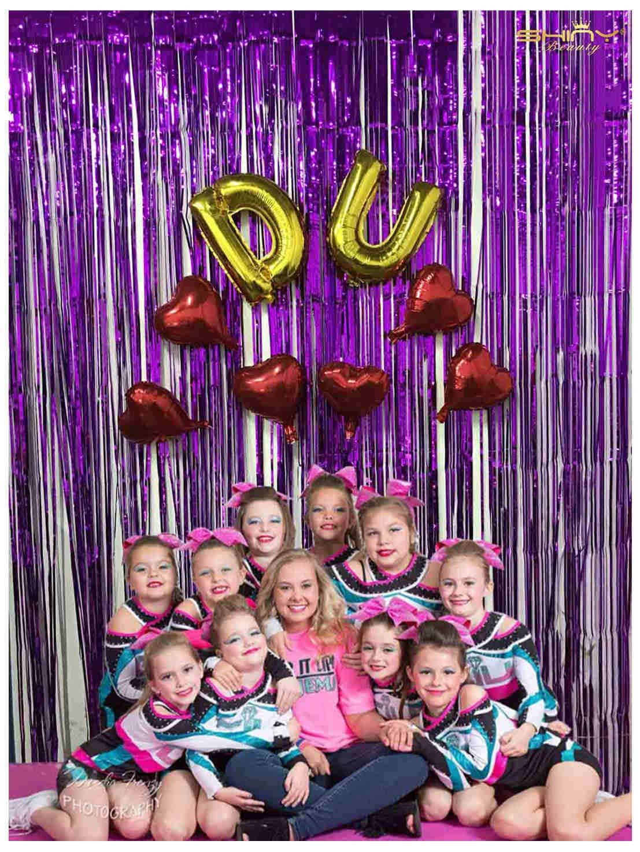 ShiDianYi 12FTX8FT-Purple-Metallic Tinsel Foil Fringe Curtain for Backdrops Photo Backdrop Window Curtains