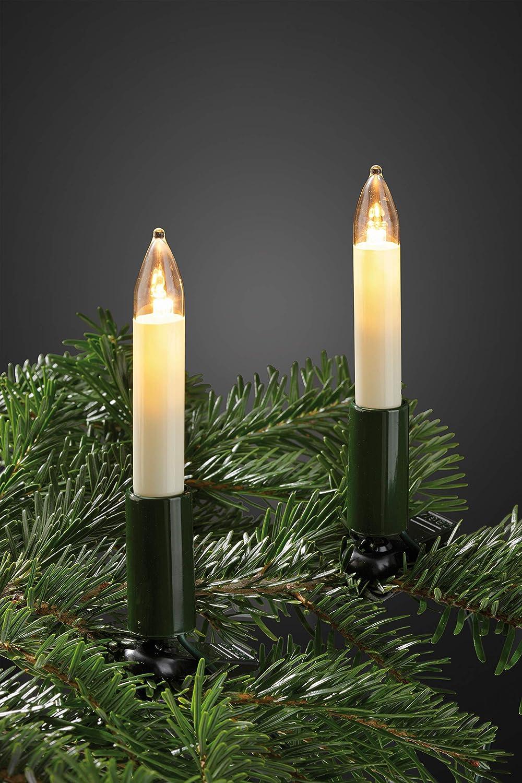 Lichterkette Weihnachten Baum Deko 20 Kerzen silber Glühdraht Schaftkerzen