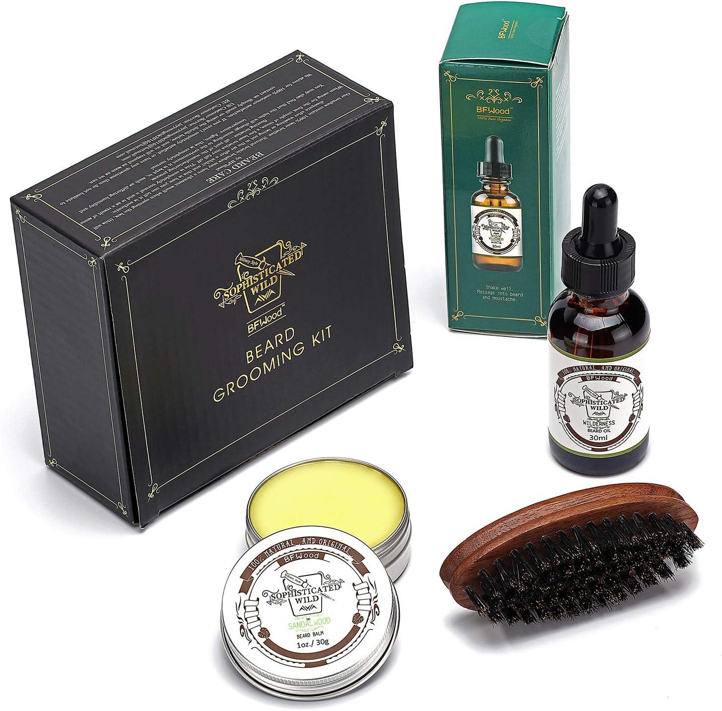 BFWood Kit pequeño de viaje para el cuidado de la barba, incluye cepillo, bálsamo con aroma de sándalo 30 g, aceite con aroma de desierto 30 ml