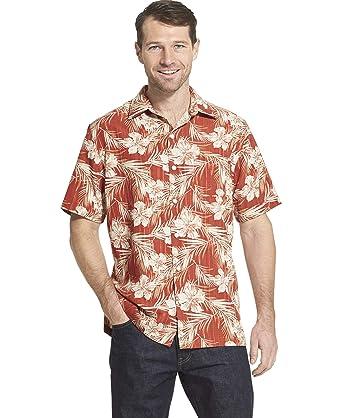90d3c953 Van Heusen Men's Big and Tall Air Tropical Print Short Sleeve Button Down  Shirt, red